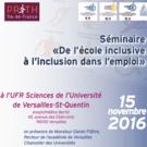 """Séminaire """"De l'Ecole inclusive à l'inclusion dans l'emploi"""""""